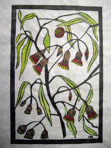 Linoprint gum blossoms