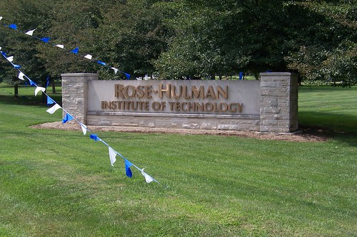 At Rose-Hulman's entrance