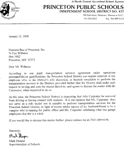 Princeton Cover Letter: Letters Of Note: The Wicca Ban
