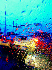Through the Glass (!Phone) Tags: road camera travel light sky usa storm macro reflection public glass rain weather truck landscape lights landscapes us dallas texas rainyday unitedstates bright action tx transport roadtrip vehicles 3g stop rainy commute states suv app iphone camerakit towncreek forestlane colorlights iphonecamera iphoneography