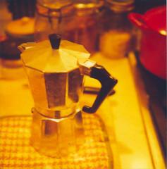 Late night coffee making (pricklypearbloom) Tags: autumn polaroid sx70 october 600film savepolaroid friendswerestayingwithus wewentoutfordinneranddrinks andweretiredwhenwegotback atlike830 sowemadesomecoffee