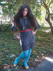 Grey Sweater Dress, Turquoise Tights, Yellow Flats (LyddieGal) Tags: red selfportrait yellow wardroberemix sweater turquoise tights macys aldo bluetights sweaterdress cinchbelt