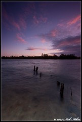 Eye Green Sunset (Nick Atkin) Tags: wood pink sunset sky moon water clouds purple cambridgeshire eyegreen eyegreennaturereserve