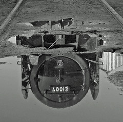 Something in the puddle. (FlyingScotsman4472) Tags: white black reflection puddle br oliver arty great central shed railway loughborough cromwell britannia gcr blackwhitephotos 70013