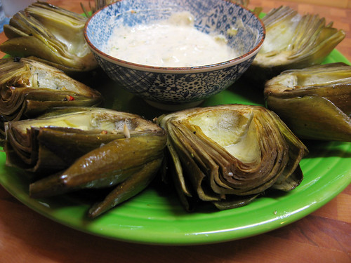 Artichokes with Pesto Dip