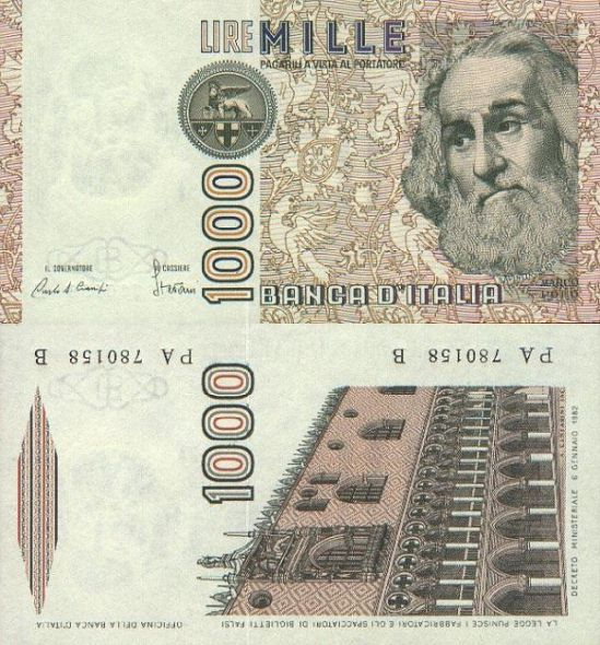 1000 lír Taliansko 1982