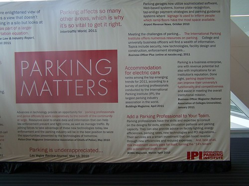 Part of a panel sign promoting the International Parking Institute