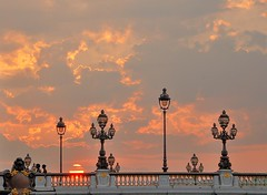 Pont Alexandre III, Sunset - Plate III (Thomas Sittler) Tags: bridge sunset red orange cloud sun paris france seine architecture clouds soleil iii pont alexandre sonne hdr coucherdesoleil pontalexandre pontalexandreiii
