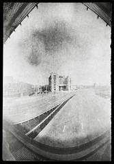 Vignetting the hostel (batuda) Tags: street paper cityscape cider can pinhole d76 kaunas akropolis cylindrical karaliausmindaugo