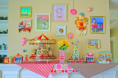 (Carou)salivate (boopsie.daisy) Tags: carnival flowers elephant color motif colors vintage living frames colorful candy display fairground circus room go kitsch fair polka cotton popcorn round apples merry dots clowns decor mantle floss striples