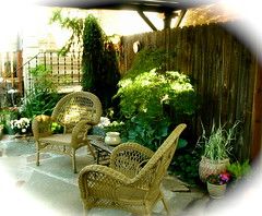 Shade Patio (boisebluebird) Tags: plants stone garden design michael gardening boise patio deck japanesemaple shade seating wicker gardendesign landscapedesign toolson michaeltoolson boisebluebirdcom httpwwwboisebluebirdcom boiselandscaping boisegardener