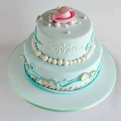 Under the Sea (Sweet Tiers) Tags: birthday pink blue sea 2 fish cake waves underwater hand shell pearls made oyster tier