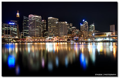 Sydney Darling Harbour (Sam Ili) Tags: sky reflection building water night canon long exposure fireworks harbour sydney blues australia darlingharbour dri hdr explored 450d sydneydarlingharbour redbubble canon1022mm3545