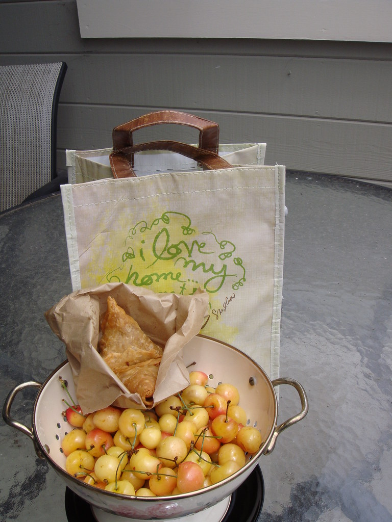 Rainier Cherries, Samosas, Free Whole Foods Bag
