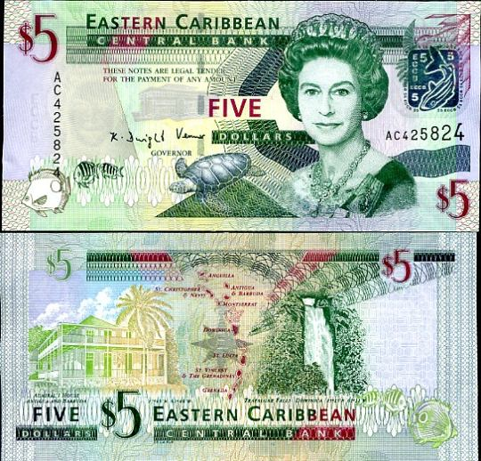 5 Dolárov Východný Karibik 2008
