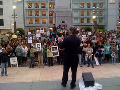 San Francisco Supervisor Mirkarimi speaking @ #Iranelection protest (Steve Rhodes) Tags: cameraphone sf sanfrancisco california ca june mobile moblog iran protest unionsquare 2009 sfist iphone iranelection june09 iphonephoto june2009 flickr2twitter iranelectiontwitter