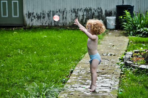 Bugg launching a water balloon