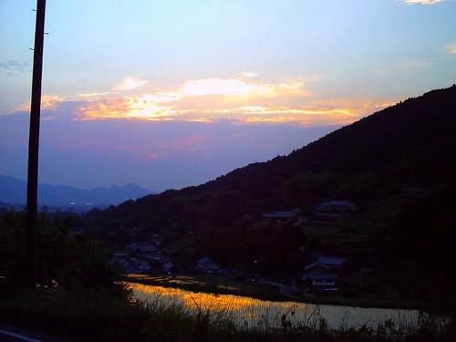 棚田の夕陽(トイカメラ)@明日香村-04