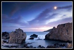 Kishies´s Quiz (Muchilu) Tags: sunset cloud sun moon beach water rock stone set clouds agua nikon long exposure mask time d cara towers playa dani victor salinas ibiza paula nubes toni powers eivissa manu 90 nube roca cala ocarina d90 muchi esculpida majoras muchilu turyocio kishies´s quizzelda octanetieneloshuevoscuadradosyhacelasnocturnasaf11jijiji