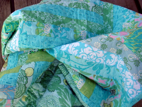 blue green strip quilt detail
