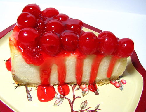 Yummy Cheesecake with Cherry Topping