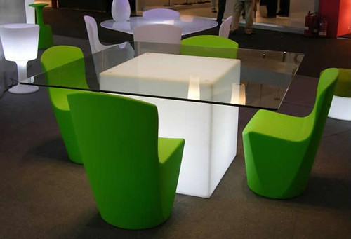 Modern Glass Table with Green Chair