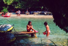 girls playing in the river (andreas n) Tags: trees girls vacation sun playing green wet water hat vintage river relax greek happy boat spring sand nikon stream colours play joy free happiness clean clear explore greece rafting grecia griechenland grece summers parga epirus preveza thesprotia acherontas  nikond40x d40x aherontas