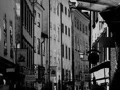 Old Town in B&W, Gamla Stan (Olof S) Tags: old city wallpaper urban bw house building lamp sign wall fz20 photography town photo blackwhite interesting scenery europe cityscape view sweden stockholm schweden edificio picture ciudad swedish panasonic stadt gamlastan nordic sverige scandinavia altstadt oldtown btiment gebude stad suede suecia vieux senso svezia szwecja osterlanggatan sterlnggatan