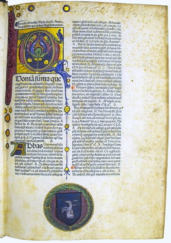 Inscription and decorated initial in Nicolaus de Ausmo: Supplementum Summae Pisanellae...