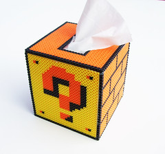 Mario Question Mark Block Tissue Cover (lost_mitten) Tags: kleenex handmade tissue nintendo mario questionmark videogame block 8bit crafty geeky slipcover tissuecover perlerbeads