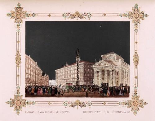 014- Plaza de la Bolsa iluminada Trieste- Ferdinando I e Maria Anna Carolina  nel litorale in settembre 1844