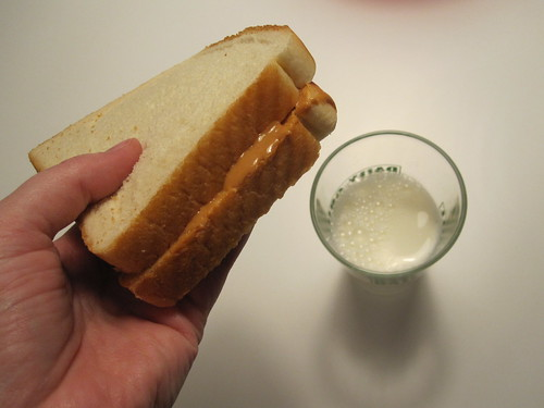 PB sandwich and milk