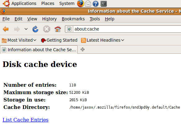 How To Access Mozilla Firefox Cache In Ubuntu (Linux)