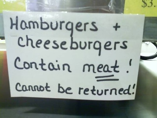 Hamburgers + cheeseburgers contain meat! Cannot be returned!