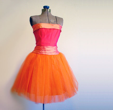 vintage 1980s Strapless Tulle Party Dress in Orange and Magenta