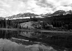 Mirrored Mountain (LaVeta Jude) Tags: trees canada mountains water clouds canon landscape britishcolumbia lakes rugged blackandwhitereflections lavetajude