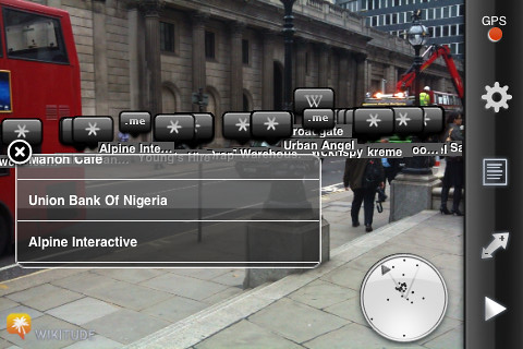 Wikitude augmented reality browser in London (step 2 of 4)