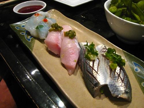 Live octopus, hamachi toro with wasabi, kohada silverskin fish