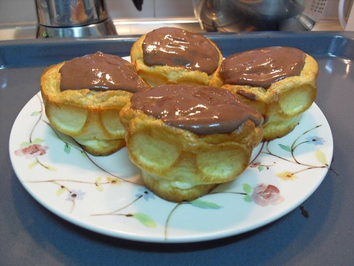 Skuffins with chocolate cream on top...