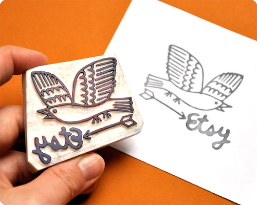 The hand carved rubber stamp of the wonderful logo of etsy France