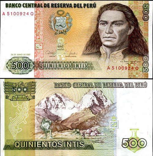 500 Intis Peru 1985-7, P134