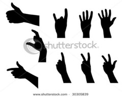 280861,1242422626,1 (aka bojanNGT) Tags: sign set modern illustration person hands arms symbol background space touch fingers profile group silhouettes collection direction human card numbers reach concept copyspace outline grab dangle copy vector isolated hold placard grope grasp
