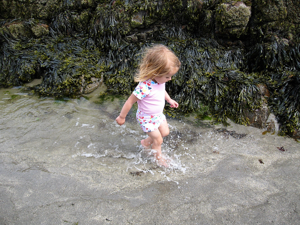 Lani playing in a tide pool