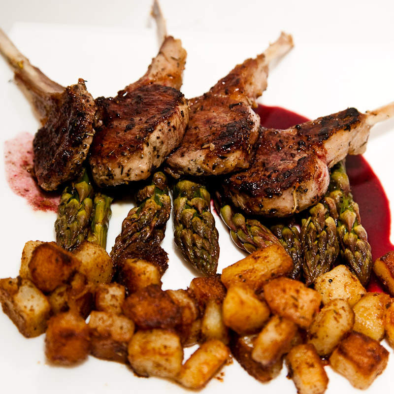 Lamb Chops, Asparagus, Sauteed Potatoes
