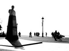 a typical day in the life of.. (Anna Galanou) Tags: people blackandwhite statue port shadows greece macedonia thessaloniki salonica         annagal annagalanou  wwwannagalanoucom