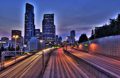 Seattle moving (lightpaint) Tags: seattle cars night buildings lights moving washington long exposure freeway hdr