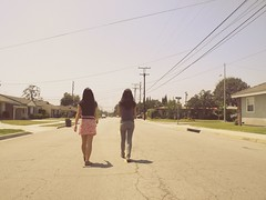 Day sixty six. (celeste li) Tags: road street houses girls friends summer sky walking fun pretty day crossing evelyn suburban candid retro neighborhood middle telephonepole bethanie celeste celestephotography
