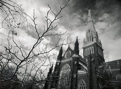 winter churchscape (mugley) Tags: trees winter sky blackandwhite bw building 120 film church architecture clouds rollei mediumformat 645 catholic dof cathedral bokeh bare branches grain stpatrickscathedral australia melbourne arches victoria christian spire negative epson polarizer leafless 6x45 twigs r3 mamiya645 urbanlandscape redfilter wideopen gothicrevival eastmelbourne polariser 25a id11 v700 minorbasilica mamiya645protl ilfotec m645 rolleir3 gisbornest 35mmf35sekorn
