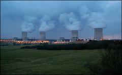 Nuclear power plant at evening (ichael C.) Tags: plant lights evening photo nikon industrial power smoke nuclear area session soir zone lumires centrale fume industrielle nuclaire d40 cattenom racteur 28022009