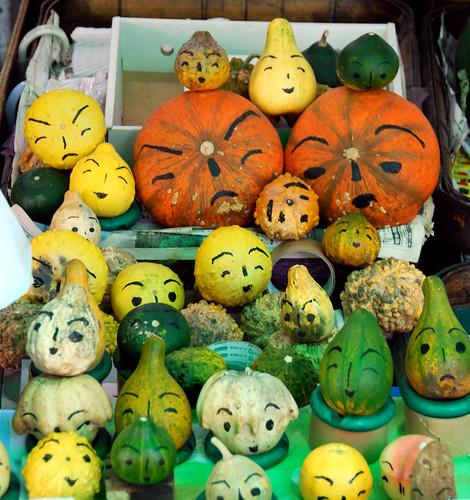 pumpkin faces, nishiki food market, kyoto